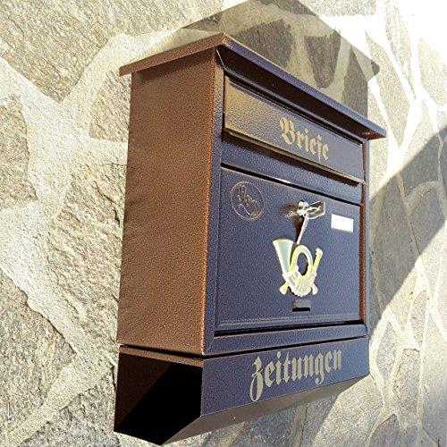 Großer Briefkasten / Postkasten XXL Kupfer / Bronce mit Zeitungsrolle Zeitungsfach Schrägdach Trapezdach - 3