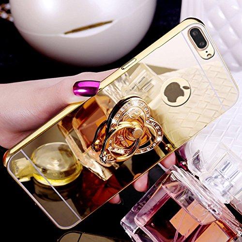 Cover iPhone 7 / 8 Plus - Custodia Specchio in Silicone TPU - Surakey iPhone 7 Plus Custodia Glitter Sparkles Bling Bling Diamante con Rotazione Grip Ring Kickstand Disegno Della Ragazza di Dancing Ul Oro Cuore