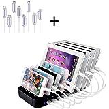 Evfun Station de Charge, 8 Ports Universelle Multiple USB Chargeur pour Apple iPad iPhone Samsung Smartphones Tablettes 8 Câbles Courts Inclus Noir (avec 8 Lignes de données)