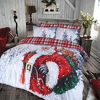 Linen Galaxy, set di biancheria da letto natalizia, con disegno di Babbo Natale, vintage, in policotone, con federe, per le feste di Natale, Doppio