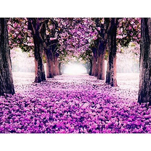 Fototapete Wald Park Vlies Wand Tapete Wohnzimmer Schlafzimmer Büro Flur Dekoration Wandbilder XXL Moderne Wanddeko - 100% MADE IN GERMANY - Pink Violett Lila Runa Tapeten 9003010b - Park Schlafzimmer
