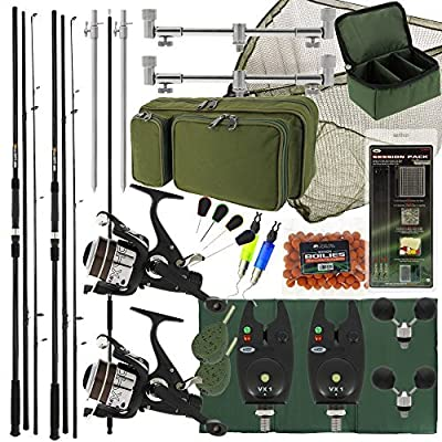 """New Deluxe Complete Carp Coarse Fishing Rod & Reel Set Up with 42"""" Net Buzz Bar Bag Tackle 2x Alarms Tools 2x Ball Rests & Bait. Fantastic value for money! from DNA"""