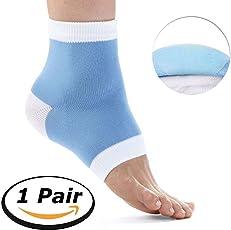 SGM Silicone Gel Heel Socks for Dry Hard Cracked Heels Foot Repair (Blue, SGM-Gel-Socks-Blue)
