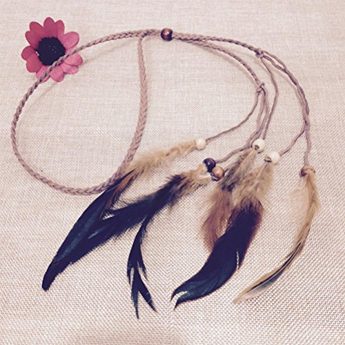 1PCS indischen Hippie Feder Quasten Haarband Hippie Geflochten Haarband Bohemia Stil Kopfschmuck durch ()