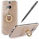 HTC M8 Hülle,M8 Silikon Hülle,WIWJ Hülle Kristall Bling Glänzend Glitzer Durchsichtig Klar TPU Silikon Hülle mit Metall Ring Stand Ständer Schutzhülle für HTC M8-Golden