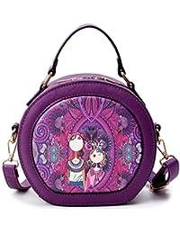 Zicac Women's Floral Print Round Leather Shoulder Handbag Purse Crossbody Bag (Purple)