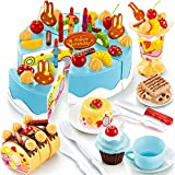 CrazySell 75Pcs DIY Küche Dessert Lebensmittel Spielset Alles Gute zum Geburtstag Tea Party Pretend Kuchen Kit Educational Spielen Toy Sets für Vorschule und Kinder (Blue)