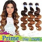 elees Ombre cheveux brésiliens Virgin Hair Body Wave Remy de cheveux humains deux/trois Tone tissage Ombre Extensions de cheveux trame avec longueur mixte 7de haute qualité Grade A