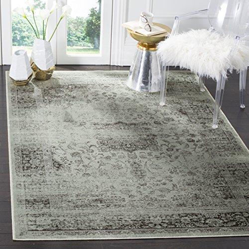 Safavieh Vintage Inspirierter Teppich, VTG113, Gewebter Weiche Viskose-Faser, Grau / Fichtengrün, 160 x 230 cm - Viskose-teppich