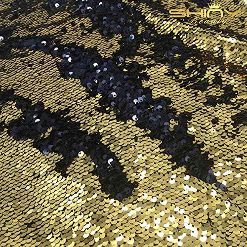 ShinyBeauty Gold&schwarz Pailletten Stoff durch den Hof Meerjungfrau Fisch Skala Pailletten Stoff...