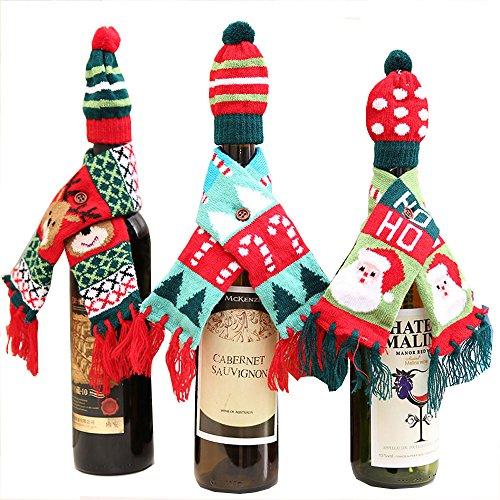 3Stk Flaschenüberzug Weinbekleidung Weihnachts Weinflaschen Deko 6*49cm für Weihnachten, Party, Neues Jahr, Fest, Familie, Restaurant