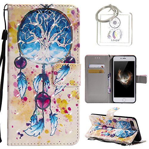 für iPhone 8 Plus / 7 Plus (5.5 Zoll) Hülle, Retro 3D Muster PU Leder Hülle Wallet Case Folio Schutzhülle in mit Standfunktion Karteneinschub und Etui Flip Case Schutzhüllen +Schlüsselanhänger (P) (7)