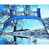 155x200 3D Bettwäsche Bettbezüge Bettwäschegarnituren Bettwäscheset Microfaser 3tlg schöne Farben und Muster Winter blau FPP 30