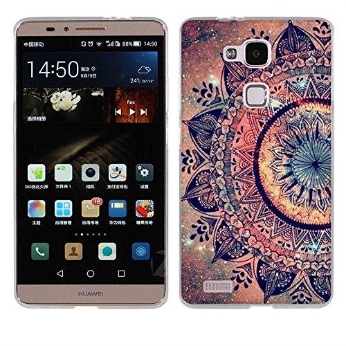 Fubaoda Huawei Ascend Mate 7 Hülle, [Mandala Blume] Kratzfeste Plating TPU Case für Huawei Ascend Mate 7 Case Schutzhülle Silikon Crystal Case Durchsichtig für Huawei Ascend Mate 7