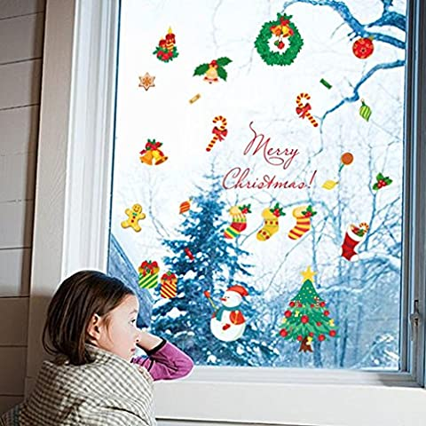 SOMESUN Autocollants de Noël Joyeux Noël Décoration murale Autocollants muraux amovibles
