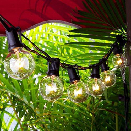 GartenLichterketten, Chenci Innen und Außen Beleuchtung G40 Lichterkette Leuchte Leuchtmittel 7,62m anschließbar mit 25 warmweiß Glühbirnen von7 W , Dekoration für Weihnacht Cafeteria Party -