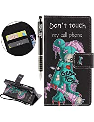 "Huawei P8 Lite Case Cover Wallet,Anti-scratch Cuir Dragonne Portefeuille Relief fille papillon Housse pour Huawei P8 Lite,SainCat Coque de Protection PU Leather Flip Wallet Case Cover Bumper Bling Diamond Glitter Wallet Flip Protective Cover Protector,Coque de Protection en Cuir Folio Housse Cuir Swag Case Cover Coquille Couverture avec Fonction Porte-cartes de Crédit Stand pour Huawei P8 Lite + 1 X Stylet(""Don't touch my cell phone"")"