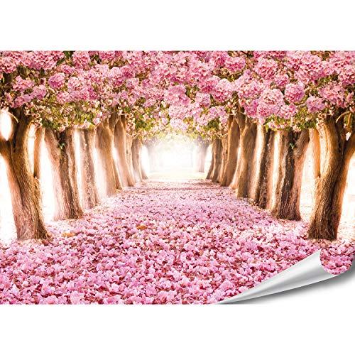 PMP-4life XXL Poster Romantischer Wald | 140x100cm | hochauflösendes Fotoposter rosa Bäume, Natur Wandfoto extra groß, XL Wand-Bild | Wand-deko Bild Landschaft Bäume Blumen Alee Rosen-Blätter - Rosen Bild Rosa