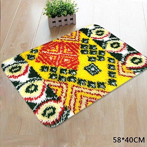 VIOY Wolle Dreidimensionale Stickerei Kreuzstich Teppich Stickerei Fußmatten Material Kits Handgemachte DIY Türmatten Bad matten,J Abschnitt,Einheitsgröße