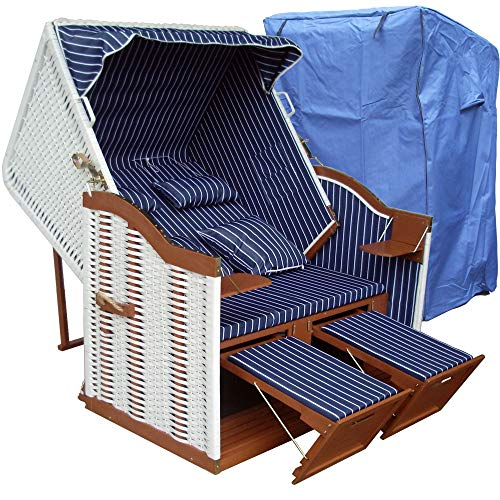 XINRO® Strandkorb weiß blau günstig für Balkon inkl Strandkorb Hülle - blau mit weißem Polyrattan und braunem Holz, Form Ostsee Strandkorb