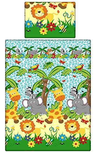 Babies-Island A 2 Piece Bedding Set Pillowcase+Duvet Cover For Baby Toddler To Fit Cot/Cot Bed – Blue Zoo Safari (120×150 cm)