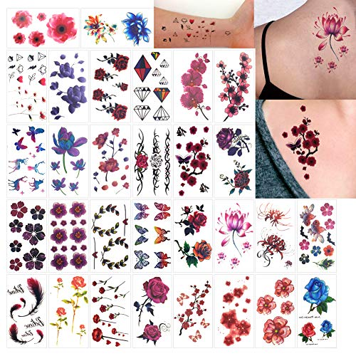 (Temporäre Tattoos für Erwachsene Männer Frauen Kinder (30 Blätter), Wasserdicht Temporäre Tätowierung Fake Tattoos Body Art Aufkleber Vertuschen Set (Bunte Blume & Schmetterling))