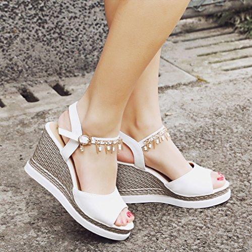 YE Damen Peep Toe Knöchelriemchen High Heels Plateau Sandalen mit Keilabsatz und Schnalle Bequem Schuhe Weiß