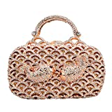 Bonjanvye Small Fish Metal Handle Bag for Women Clutch Purse Evening Party Rose Gold