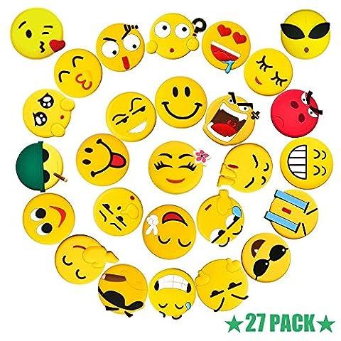 27-teiliges 3D Emoji Magnete Set, Pococina Ø 4,3 cm Lustige Kühlschrankmagnete Set für Wohnung, Klassenzimmer und Büro