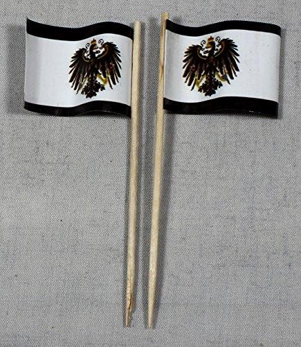 Party-Picker Flagge Preussen mit Adler Papierfähnchen in Profiqualität 50 Stück 8 cm Offsetdruck Riesenauswahl aus eigener Herstellung