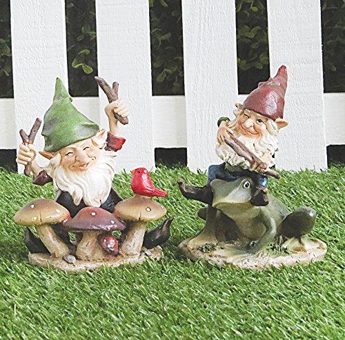 FHFY Garden Leo y Leonard - Par de figuras de gnomos pequeños, diseño de hadas