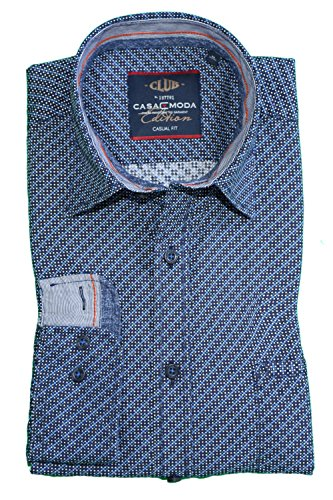 Casa Moda - Camisa casual - Lunares - para hombre azul X-Large