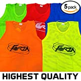 FORZA Training Bibs/Vests (5 Pack) - [HIGHEST QUALITY AVAILABLE] (2. Fluorescent Yellow, 1. Extra Large)
