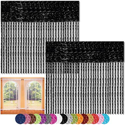 Bestlivings Fadenvorhang 2er Pack Gardine Raumteiler, Auswahl: 90x240 schwarz - Jet Black