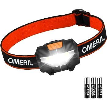 Linterna Frontal LED OMERIL Linterna Cabeza, Super Ligera (43g), 3 Modos de Luz, IP44 Impermeable, 150 Lúmenes, COB Frontal LED para Correr, Caminar, Acampar, Pescar, Niños (3 Pilas AAA Incluidas)