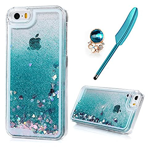 iPhone SE Case iPhone 5S Case iPhone 5 Case, MAXFE.CO Clear Hard PC Cell Phone Cover Shiny Glitter Heart Shape Floating Liquid Tiffany Blue Slim Fit Protective Shockproof Anti Scratch Case For iPhone 5/ 5s/ SE + One Rhinestone Dust Plug + One Touch