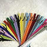 wkxfjjwzc 40pcs encaje extremo cerrado cremalleras 3# 40cm nailon para bolsas de bolso de mano multicolor costura mix