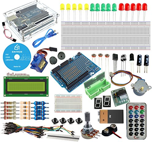 619ag7iloNL - [Sintron] Arduino Uno R3 Board Starter Kit with PDF files & Tutorial CD en español + Transparent Acrylic Case LCD Servo Motor Sensor Module etc, for Arduino Starter Learner