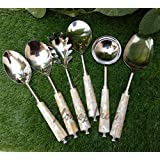 Homez Décor Designer Mother Of Pearl Serving Spoons Set Of 6 Pcs. - Stainless Steel, White Mother Of Pearl Handles.