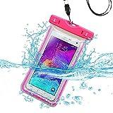 Premium impermeable deportes impermeable resistente al agua Lightning funda de transporte bolso de la bolsa para Huawei Mate S/G8(con cordón) (rosa) + MYNETDEALS Mini pantalla táctil lápiz capacitivo