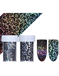Born Pretty 4 * 100cm Holographic Starry Nail Foil Black Lace Flower Manicure Nail Art Transfer Sticker