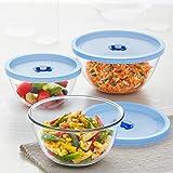 Borosil Glass Oven   Microwave Safe Mixing   Serving Bowls  500 ml, 900 ml, 1.3 L, Transparent    Set of 3