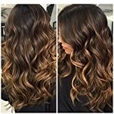 Ugeat 22 Zoll Dip Dyed Tape in Echthaar Extensions Haare #2/27/2 Darkest Brown with Caramel Blonde Ombre Brasilianich Glatt Haarverlangerung Extensions