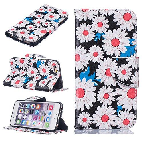 BoxTii® - Custodia a portafoglio in pelle + pellicola protezione schermo in vetro temperato, con cover posteriore, per Apple iPhone 6/6S, modello floreale con cinturino da polso e scomparti per carte #4 Flowers