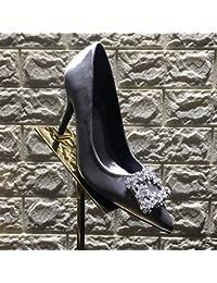Zapatos de Tacón Alto con Zapatos de Mujer de Cristal Puntiagudo,Mi,39