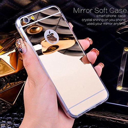Handyhülle Spiegel kompatibel mit iPhone 6G 6S Ultra Slim Hülle, Slim TPU, Soft Silikon Case Cover, Schutzhülle, Rückschale, weiche Silikon Handyhülle, Cover Bumper, Etui (iPhone 6G 6S, Gold) Spiegel Iphone