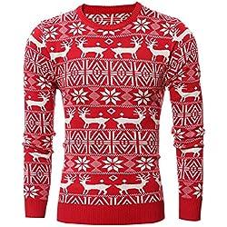 Manga Larga Estilo Étnico Suéter con Cuello Redondo para Hombre Rojo M