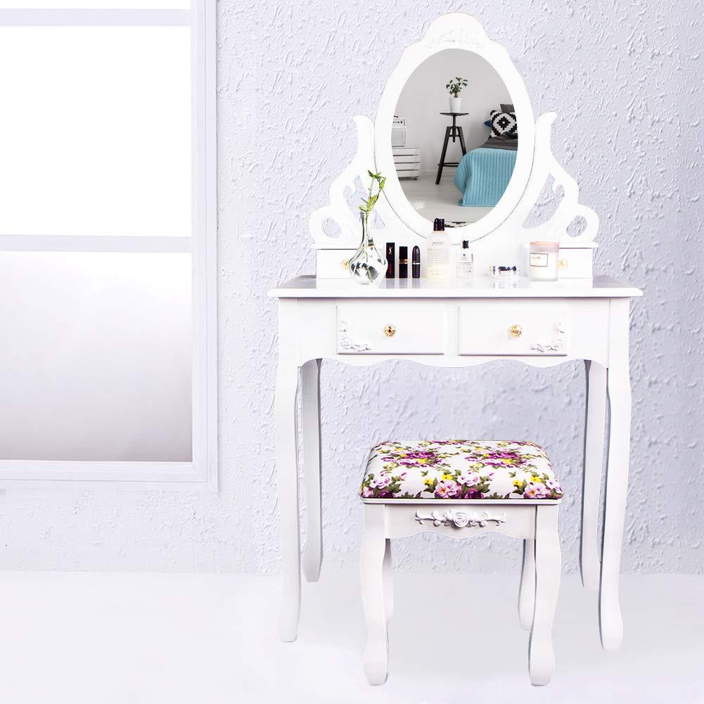 cclife coiffeuse avec miroir et tabouret coiffeuse avec tabouret coiffeuse table de. Black Bedroom Furniture Sets. Home Design Ideas