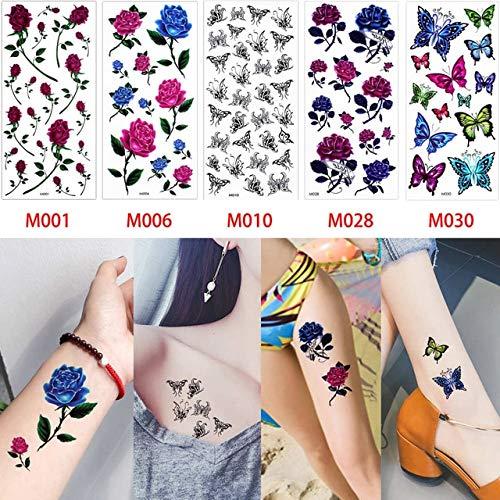 HXMAN 5 Stück/Set Farbige Zeichnung Körper Temporäre Tattoo Aufkleber Lebensechte Rose Blume Schmetterling Muster Arm Hals Kunst Sexy Set M 37