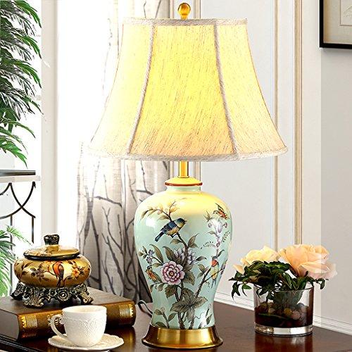 @ EDGE & - Moderne neue chinesische keramische Tischlampe Nachttischlampe American Living Room Handgemalte Blume & Bird Blue Alle Kupfer Tuch Beleuchtung (Pin Bird Blue)